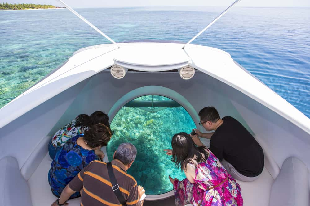A family in a glass bottomed boat