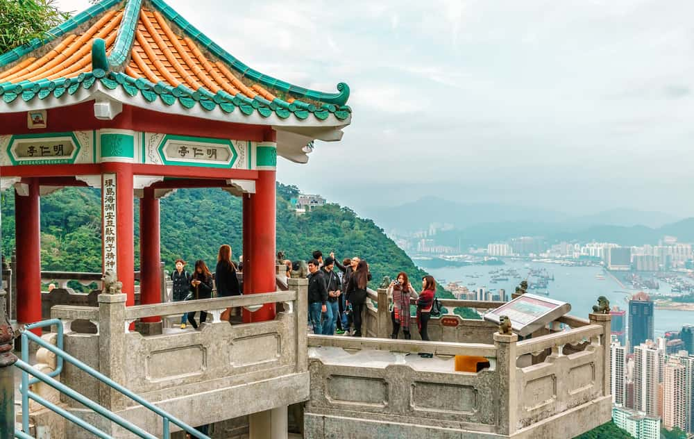 Observation deck and pagoda on Victoria Peak in Hong Kong